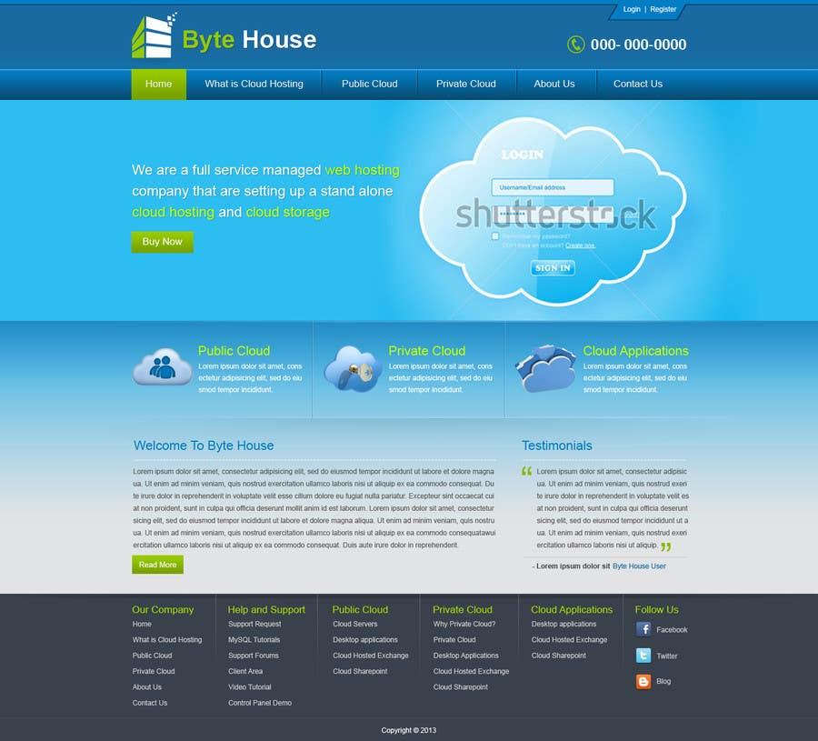 Inscrição nº                                         7                                      do Concurso para                                         Website Design for cloud hosting and cloud storage mini site for major UK hosting company