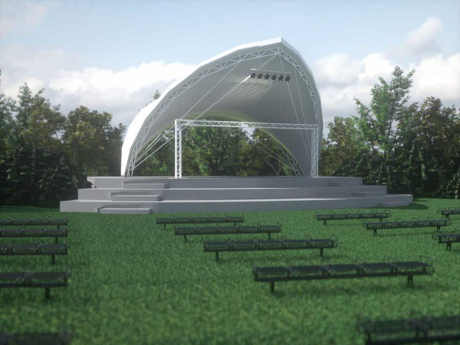 Contest Entry #17 for Rendering of a Saddle Span Tent in a Park