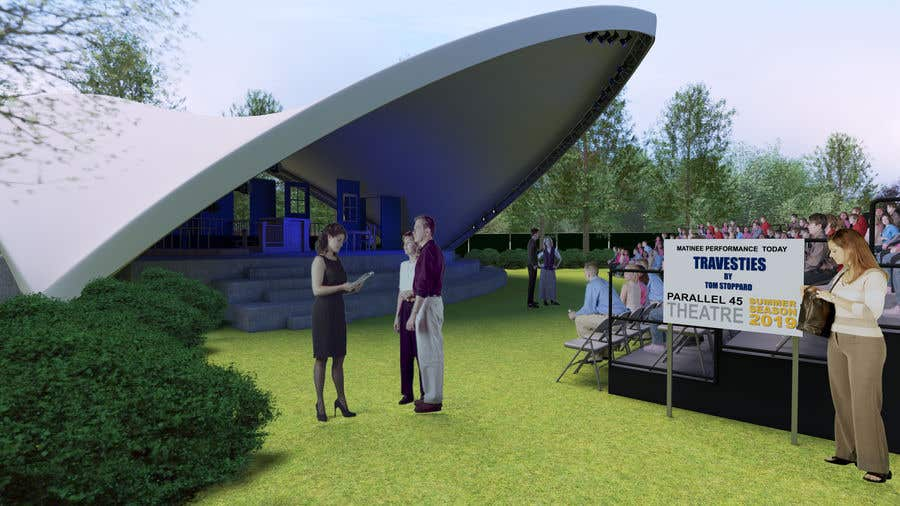 Contest Entry #16 for Rendering of a Saddle Span Tent in a Park