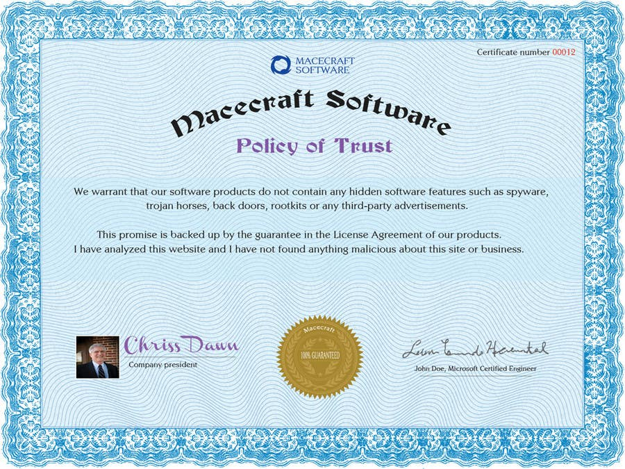 Contest Entry #21 for Website Certificate Design for Macecraft Software