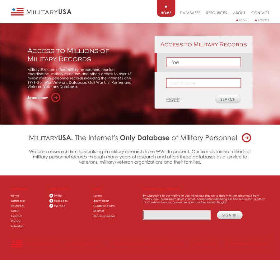 #22 for Website Design for MilitaryUSA.com by WebofPixels