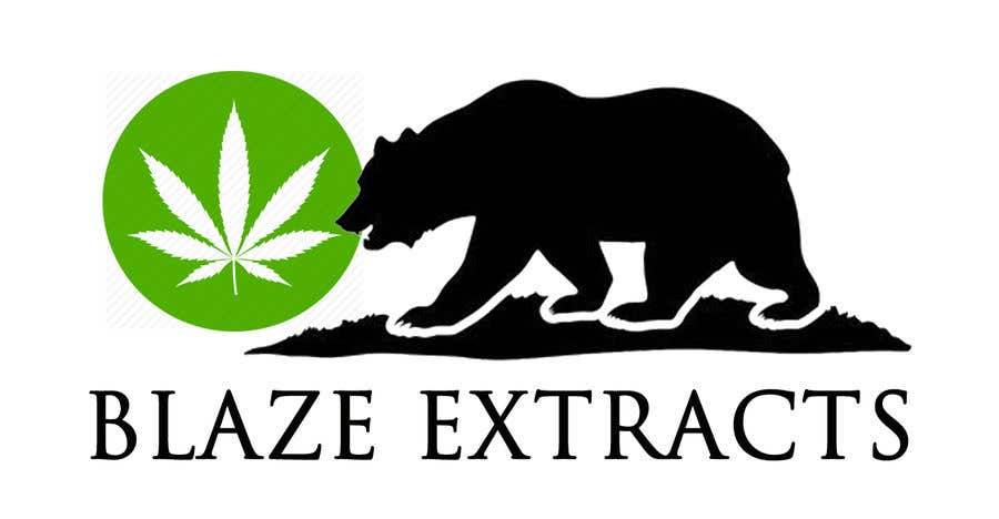 "Contest Entry #8 for Please help design a logo company called:  ""Blaze Extracts"".  Please write the words ""Blaze Extracts"" as the California bear (i attached a few images as examples).  Please also add a marijuana leaf behind the bear as a background."