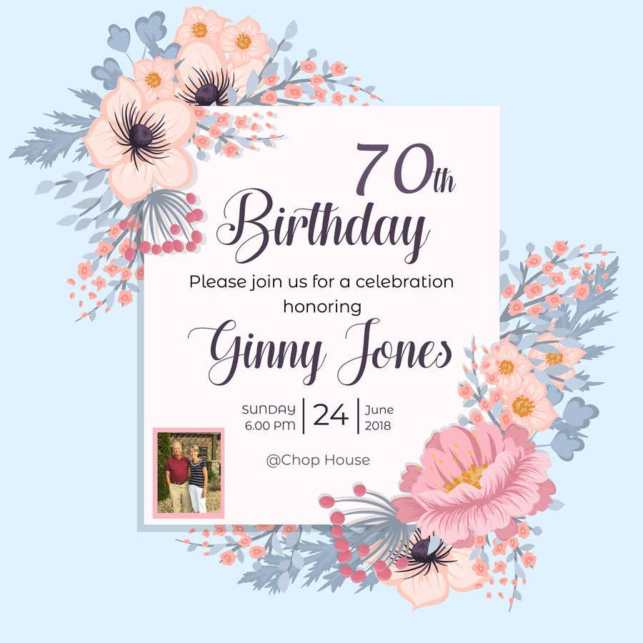 Entry 18 by tumpatahmina2018 for design a 70th birthday card design a 70th birthday card izmirmasajfo