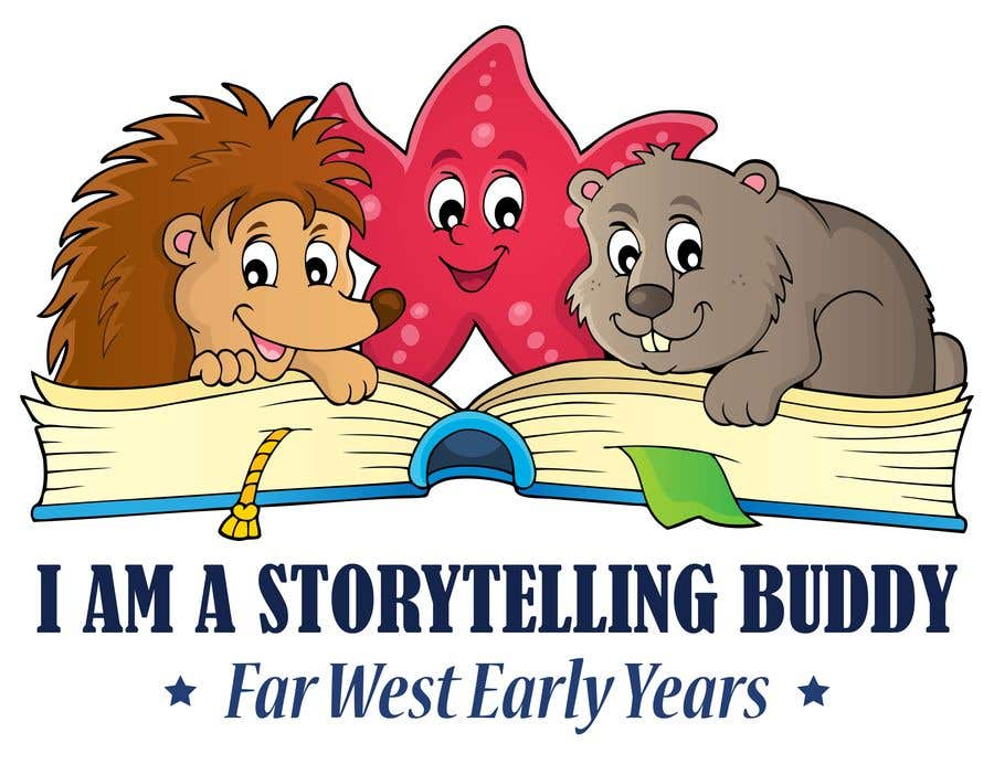 "Participación en el concurso Nro.10 para An image of either;  An Echidna A Wombat A starfish  reading a book. Including the text ""I AM A STORYTELLING BUDDY""  Then smaller subtext ""Far West Early Years""  This is for children aged between 0-4 years.  CUTE CUDDLY"