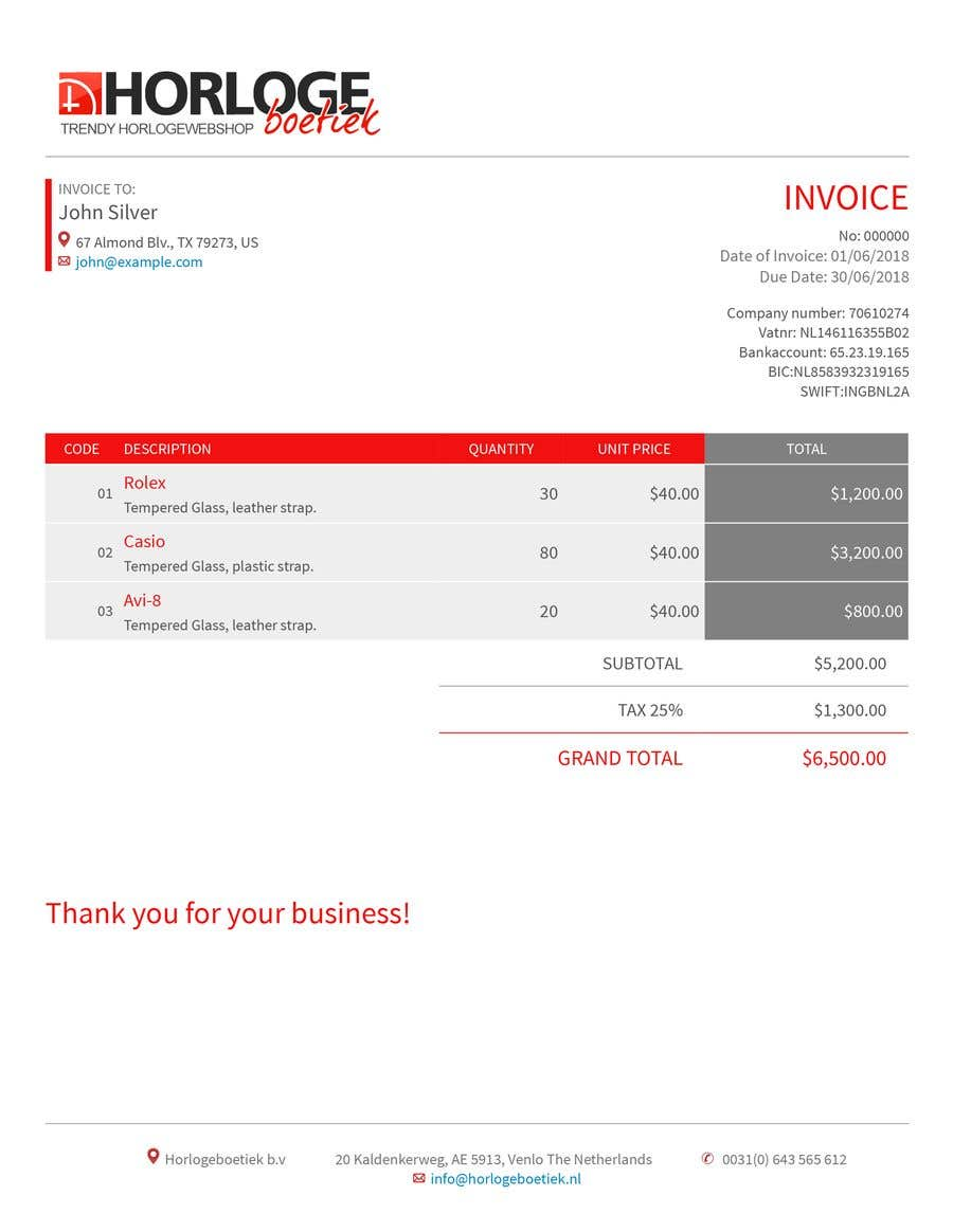 Entry 79 By Durcheva92 For Professional Invoice Template For Watch