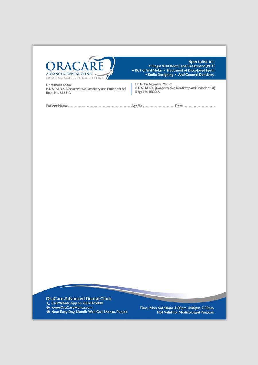 Konkurrenceindlæg #6 for Design Letter Head and Slip pad for Dental Clinic