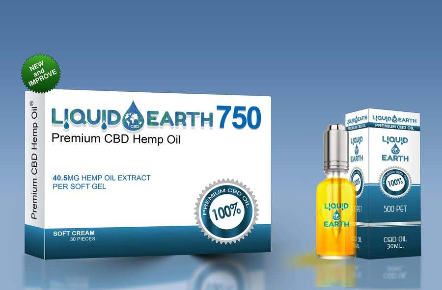 Penyertaan Peraduan #22 untuk I need a mockup of our product line with our label added to each item, which includes our logo (Liquid Earth CBD) and a discription on the bottles and boxes. Logo will be provided for you. There are about 5 products id like displayed in the picture.