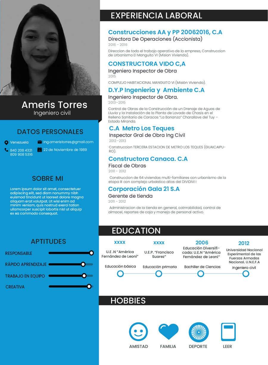 Entry 32 By Mariagromaz For Diseno De Curriculum Vitae Freelancer