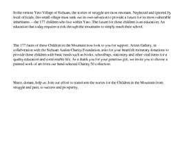 #2 untuk Script for Charity Crowdfunding Video - Children in The Mountain oleh danarmcgrath