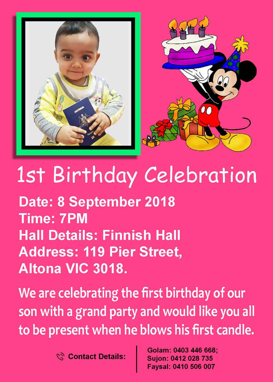 Contest Entry 14 For I Need An Inviation Card Design My Sons First Birthday