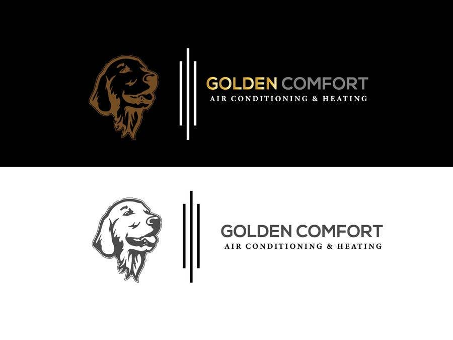 "Contest Entry #10 for I need help designing a logo for my air conditioning business. Currently the logo is my dog. The name of my company being ""Golden Comfort Air conditionjng an Heating"". Contact me if you have any more questions. Thanks."