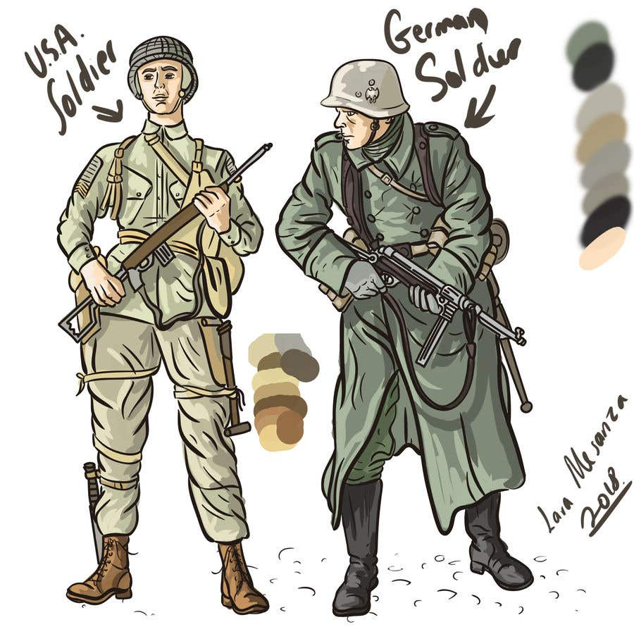 Entry #17 by laramesanza for Draw Soldiers WW2 for a board game