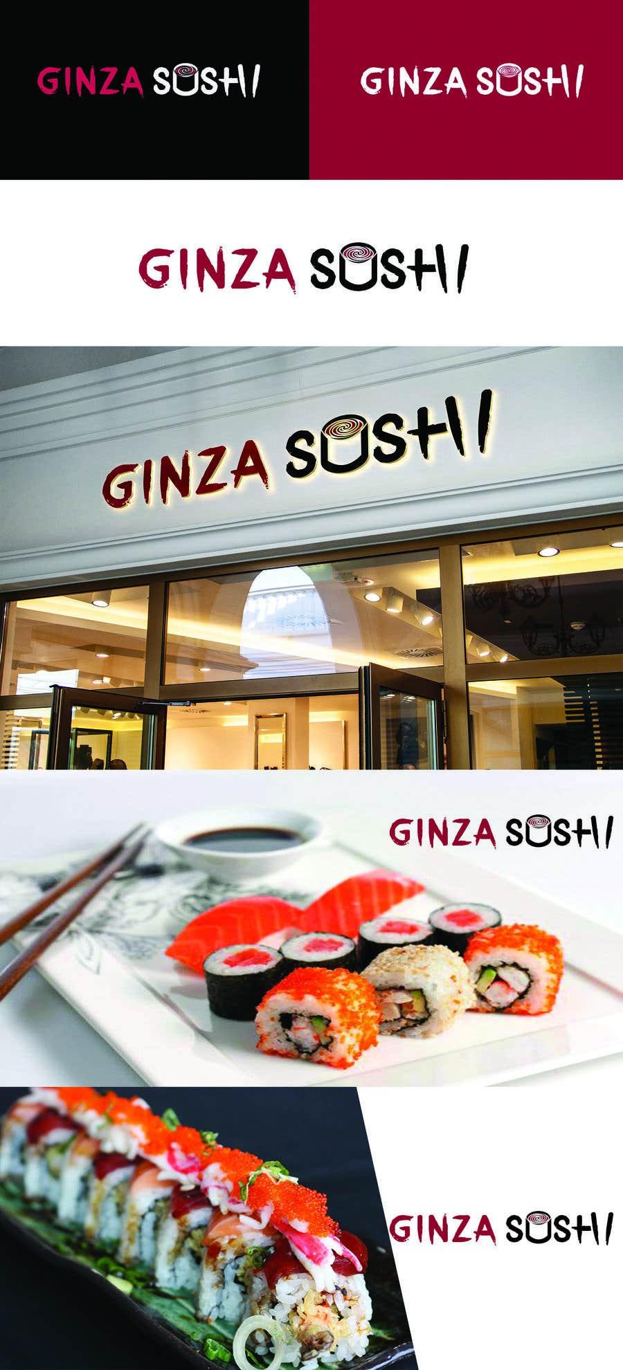 Συμμετοχή Διαγωνισμού #39 για Logo design for new restaurant. The name is Ginza Sushi.   We are looking for classy logo with maroon, Black and touches of silver (silver bc of the meaning). Would also like a brushstroke look but a highly visible name.