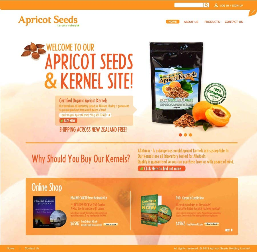 #36 for Graphic Design - Redesign FRONT PAGE Only - apricotseeds.co.nz website by Edlynsteven25