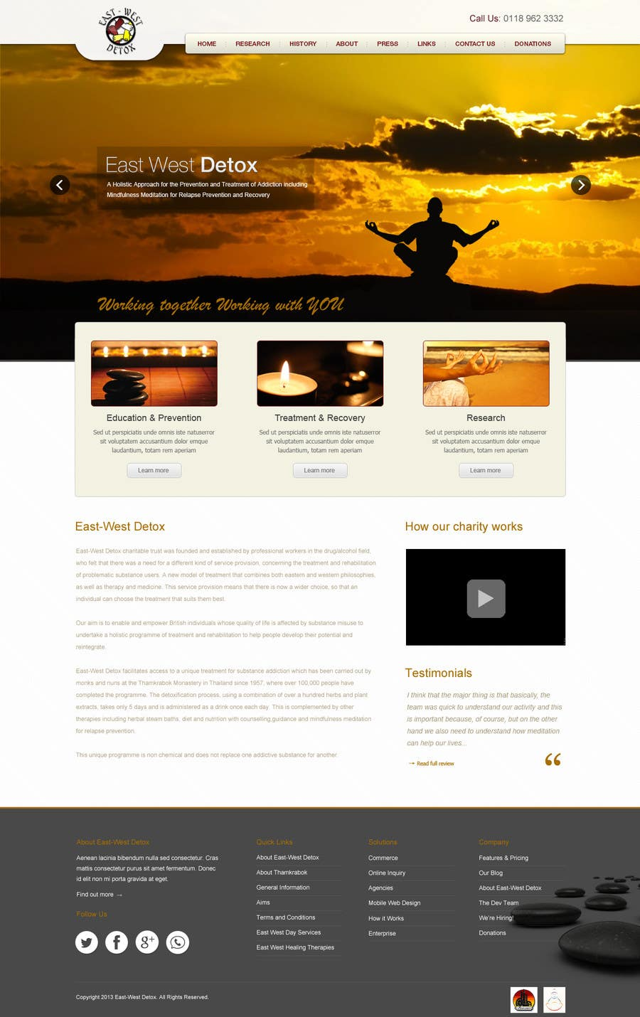 Proposition n°                                        6                                      du concours                                         Wordpress Theme Design for New website for East West Detox, Charity Website