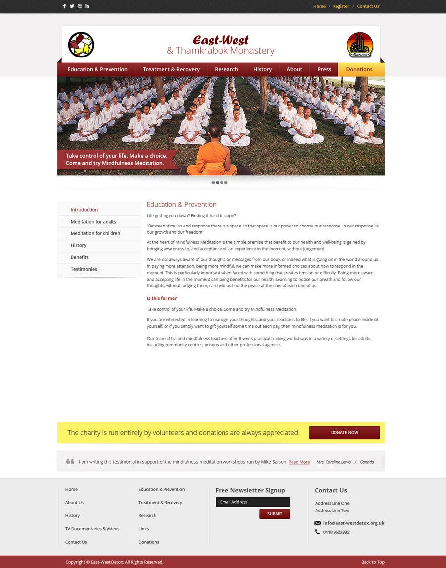 Proposition n°                                        17                                      du concours                                         Wordpress Theme Design for New website for East West Detox, Charity Website