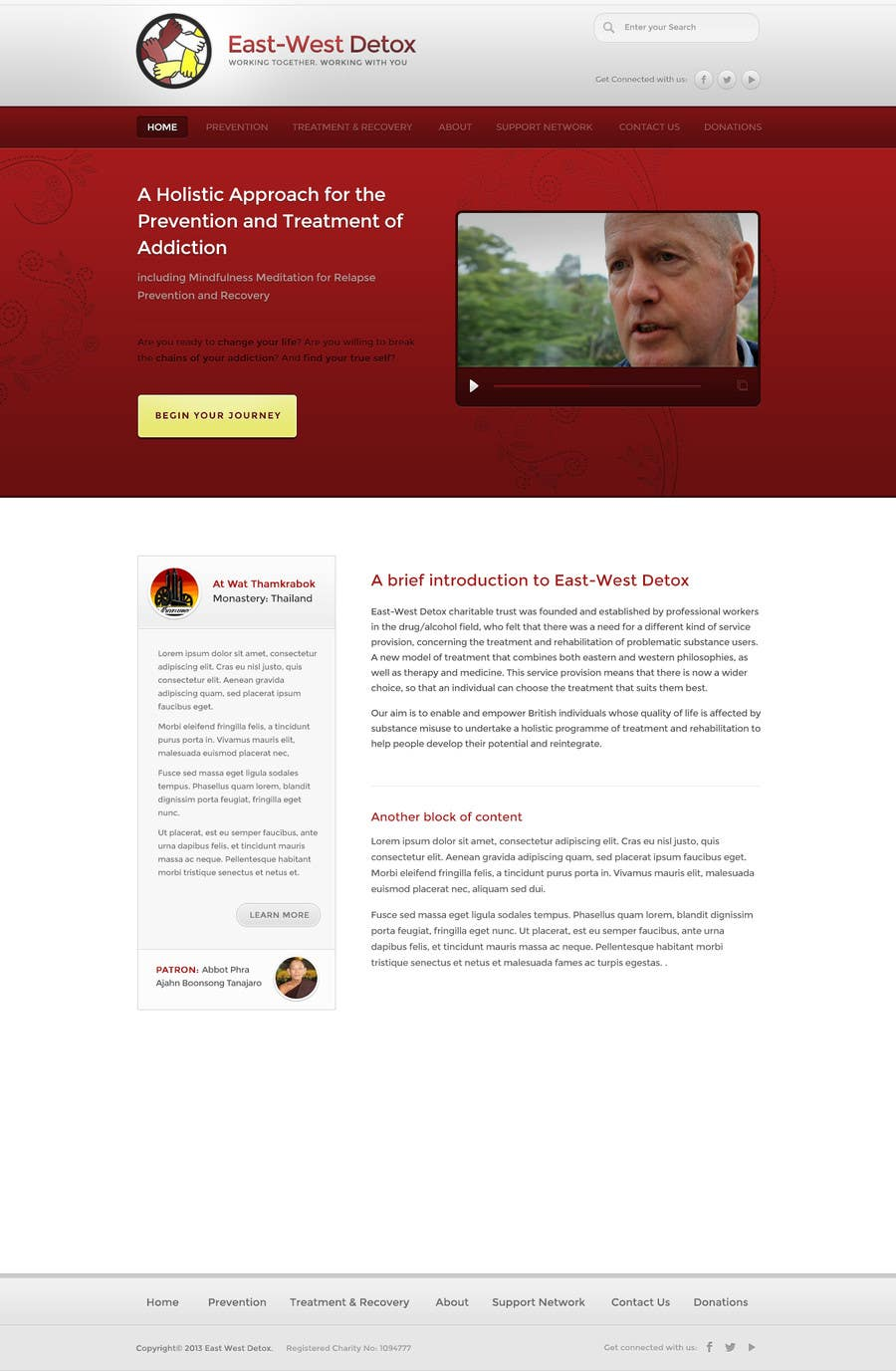 Proposition n°                                        19                                      du concours                                         Wordpress Theme Design for New website for East West Detox, Charity Website