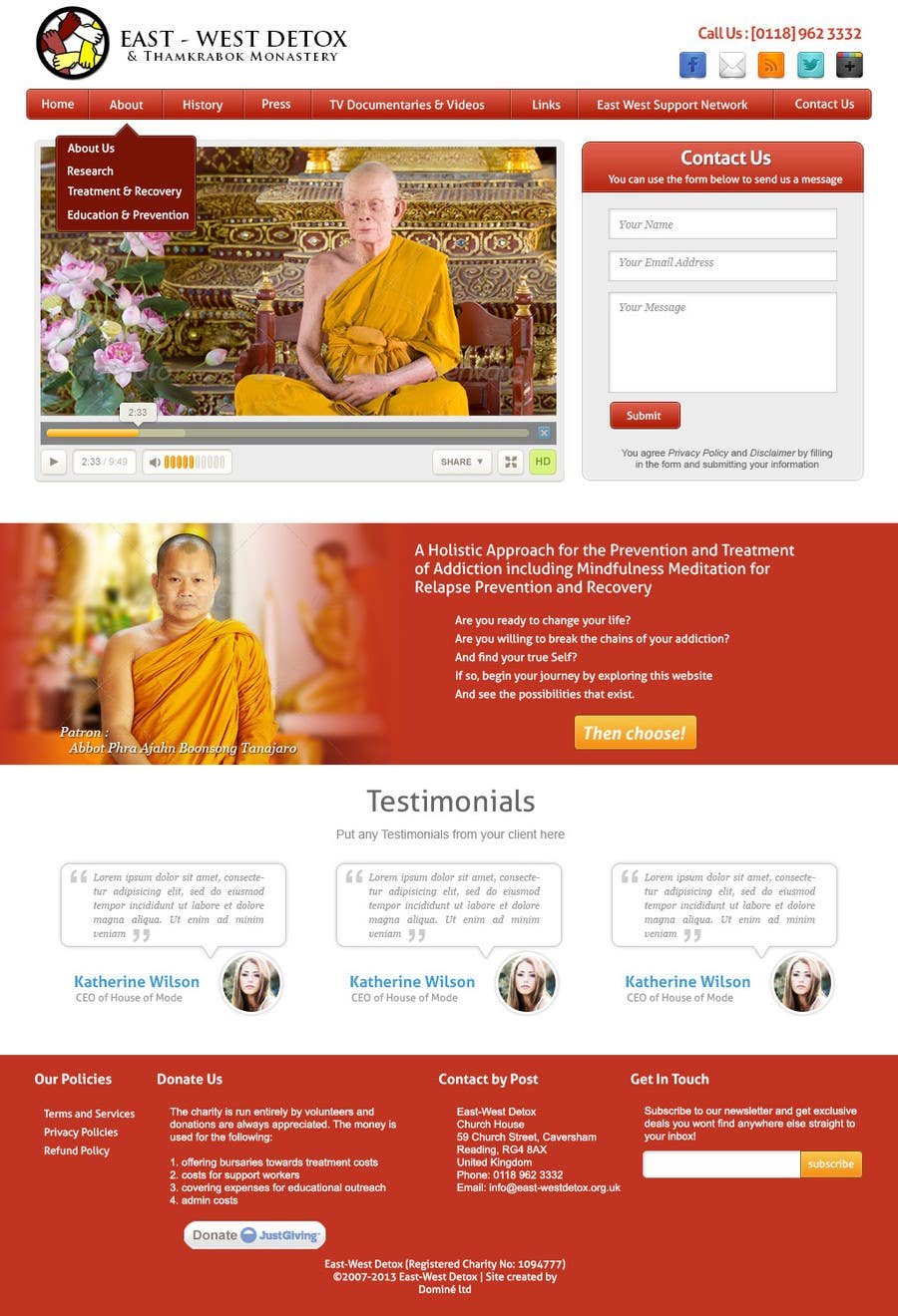 Proposition n°                                        9                                      du concours                                         Wordpress Theme Design for New website for East West Detox, Charity Website