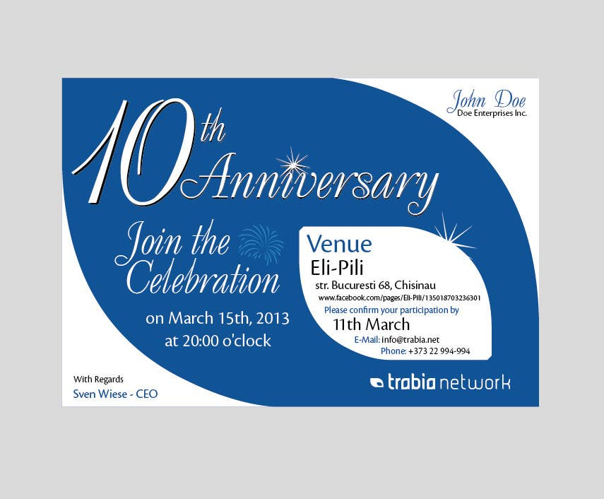 Corporate Party Invitation Design for 10th anniversary ...