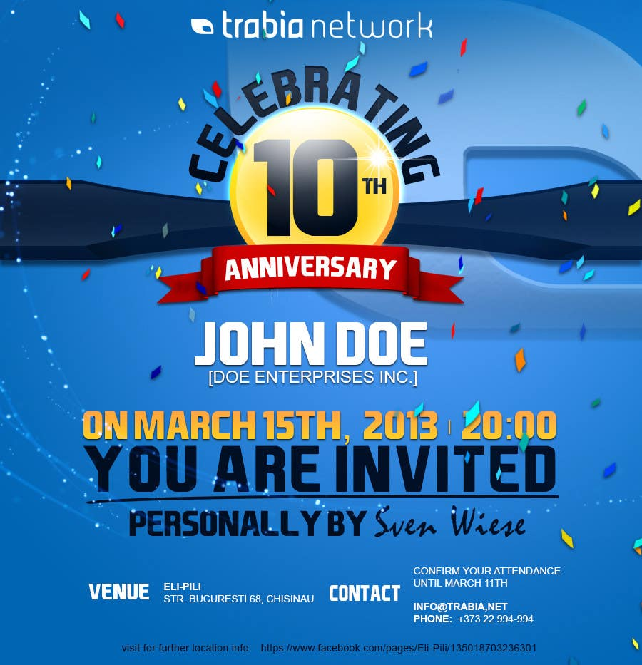 Photography Contest Entry #89 for Corporate Party Invitation Design for 10th anniversary