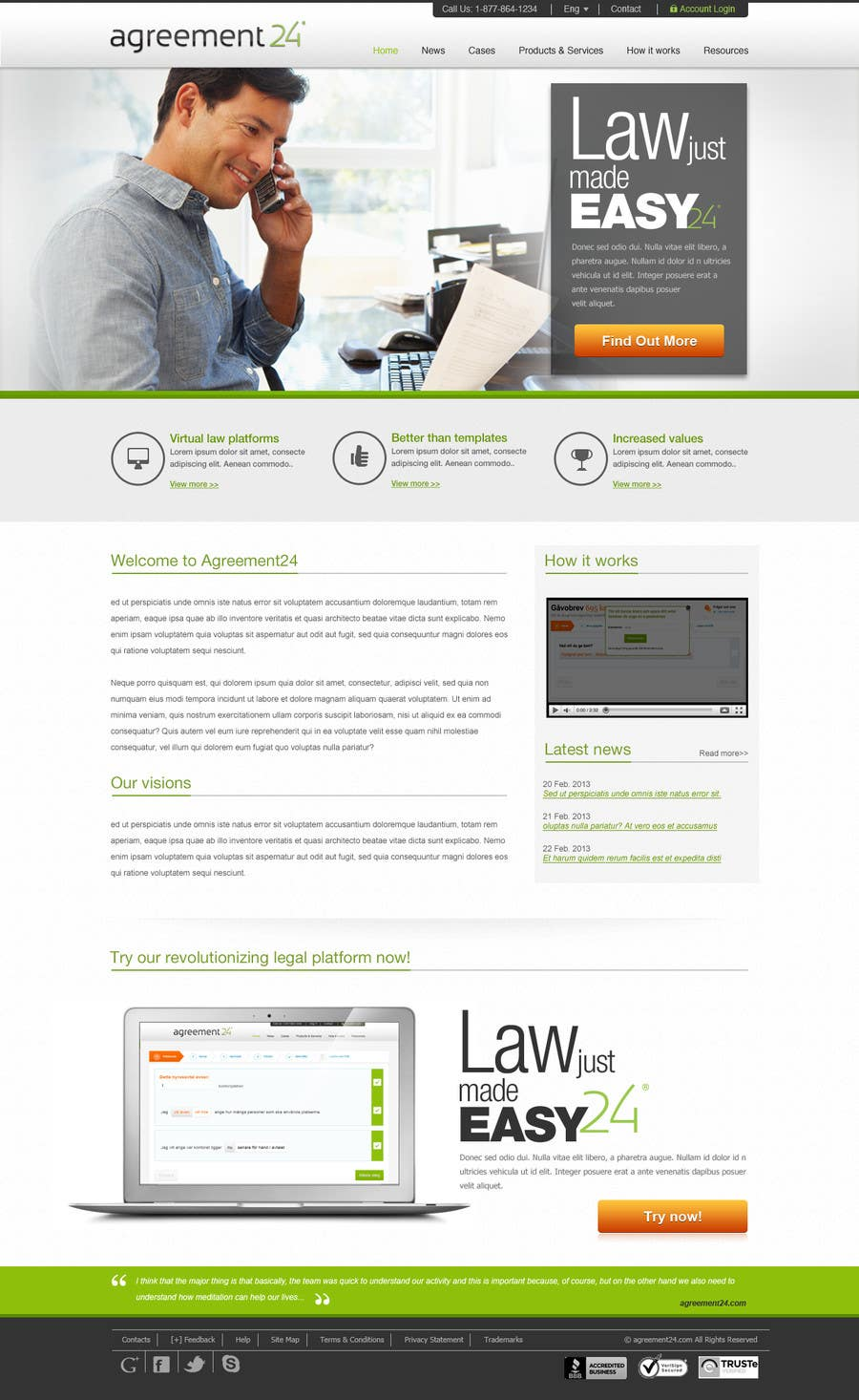 #6 for Graphic redesign - FRONT PAGE and sub template - agreement24.com website by herick05