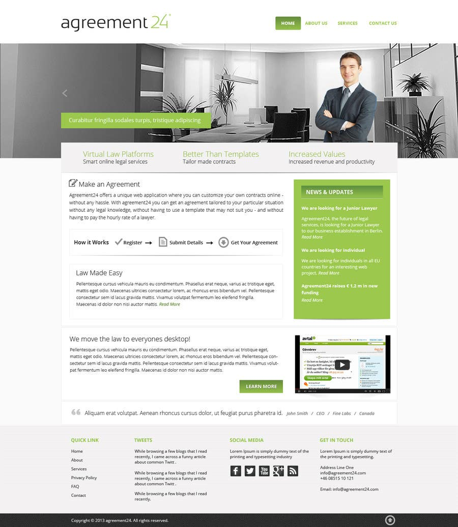#8 for Graphic redesign - FRONT PAGE and sub template - agreement24.com website by Pavithranmm