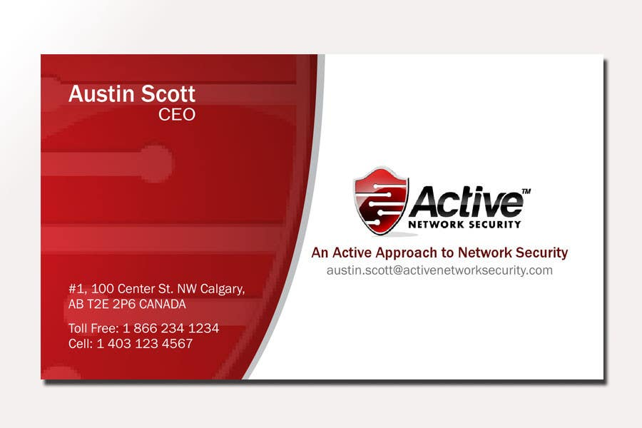 Contest Entry #148 for Business Card Design for Active Network Security.com