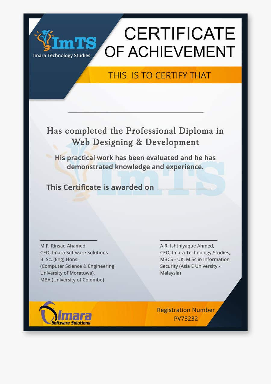 Proposition n°12 du concours Design a certificate for our Course