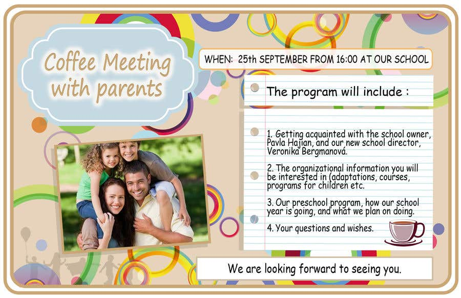 Конкурсная заявка №13 для Create a coffee invitation for preschool parents