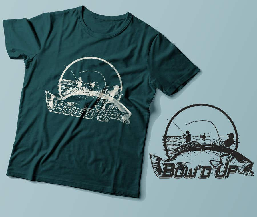 Proposition n°8 du concours T-shirt:  Bow'd Up wade fishing scene