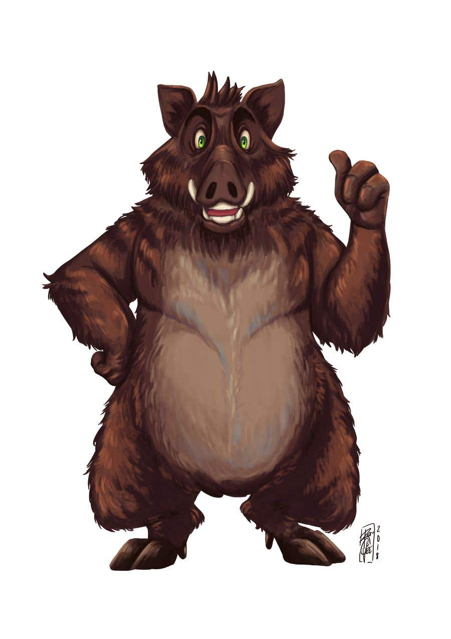 Kilpailutyö #21 kilpailussa Design a boar character following this style (please see the attached picture). I will pay more if you can do 3 animations for it