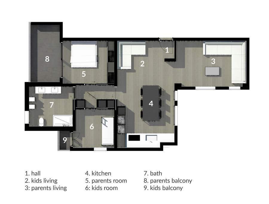 Penyertaan Peraduan #32 untuk interior design