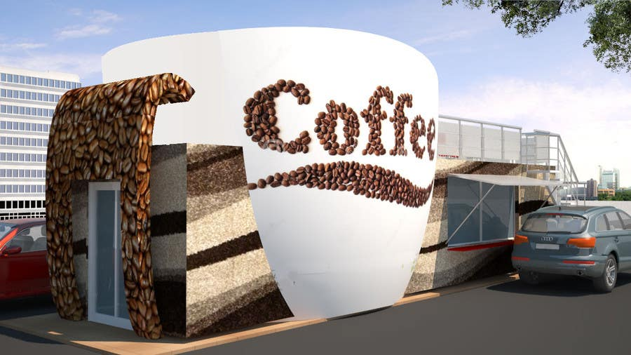 Exterior design for a drive thru coffee shop building for Building outside design