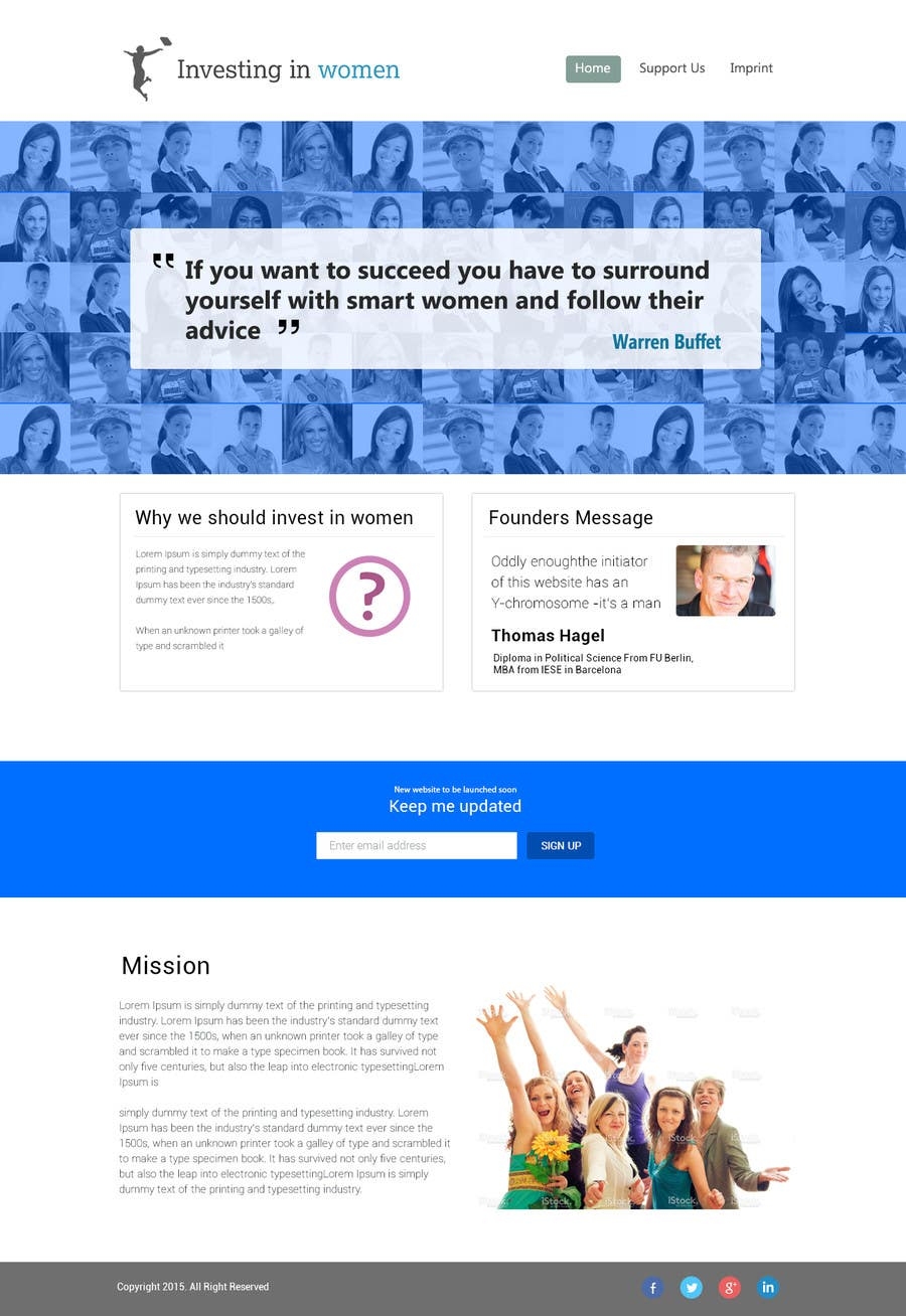 Bài tham dự cuộc thi #                                        14                                      cho                                         2 page website, design & WP programming, investing-in-women.com
