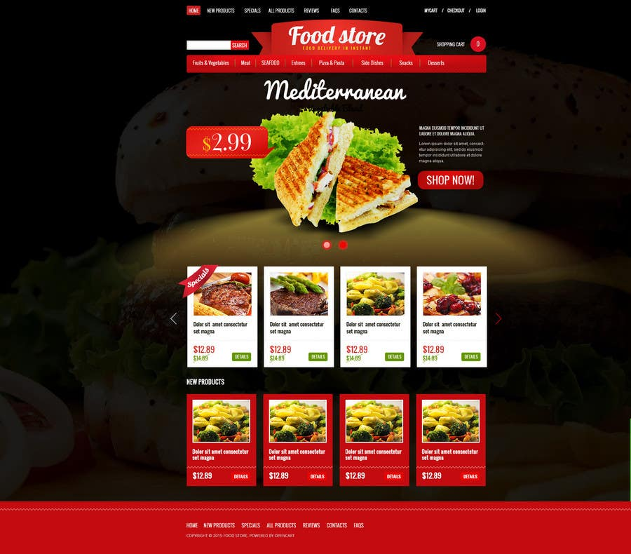 Entry 19 by madniinfoway01 for design template for opencart fast contest entry 19 for design template for opencart fast food takeaway website pronofoot35fo Images