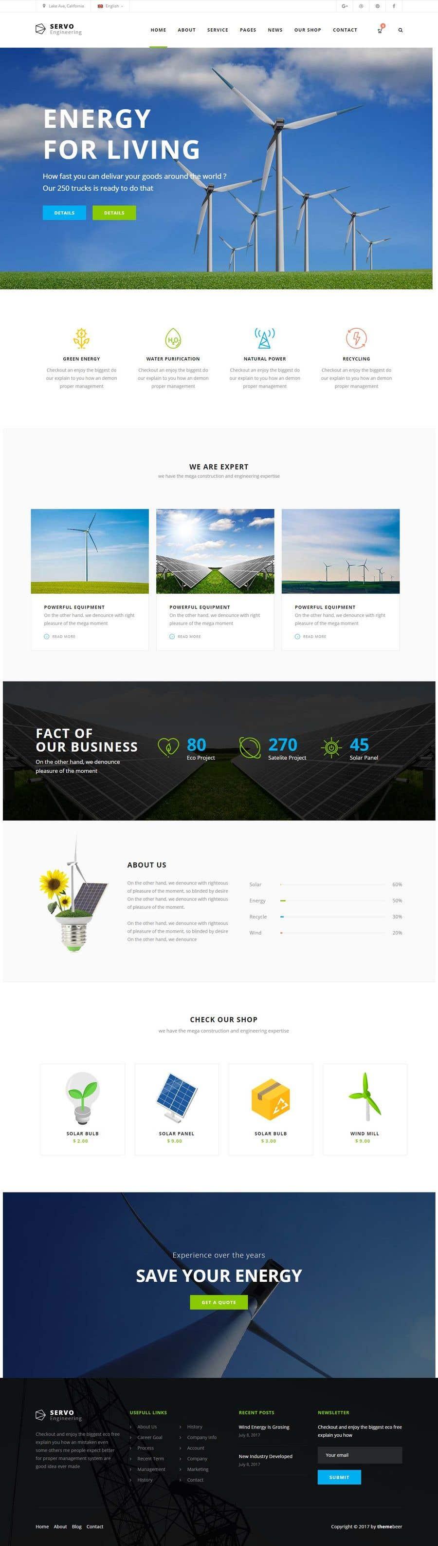 Penyertaan Peraduan #9 untuk wordpress theme design for battery and lighting subject