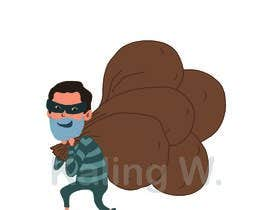 #11 для cartoon  image of thief wearing eyemask with many bags on his shoulder от KalingWong