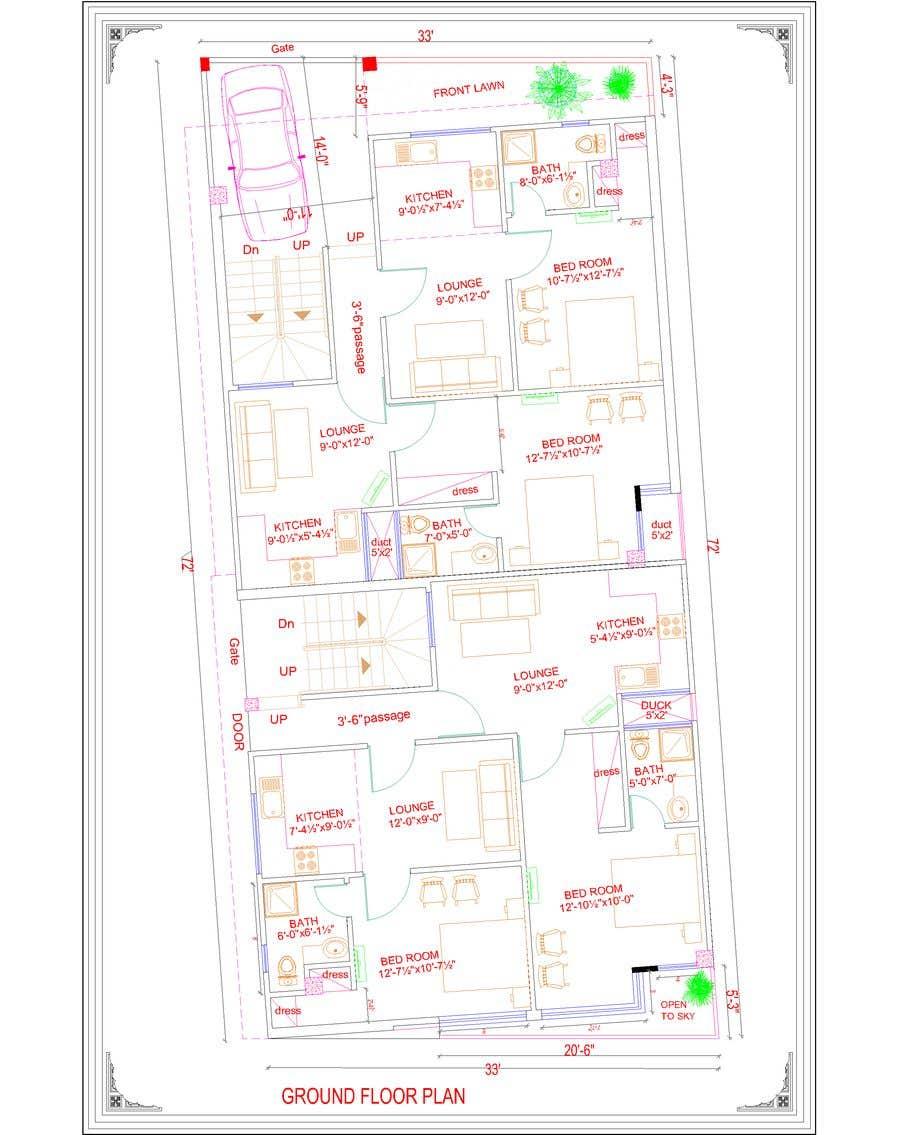 Natečajni vnos #16 za Architectural design for an area of 72x33 feet