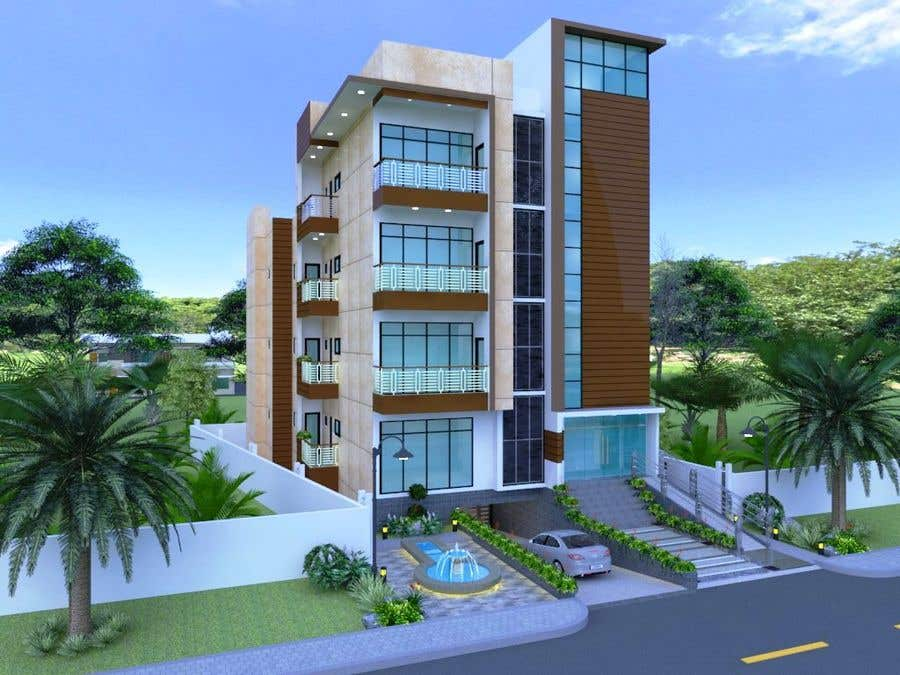 Bài tham dự cuộc thi #103 cho Improve 3D Building Exterior - Paint, Windows, Balcony, Entrance, Garden
