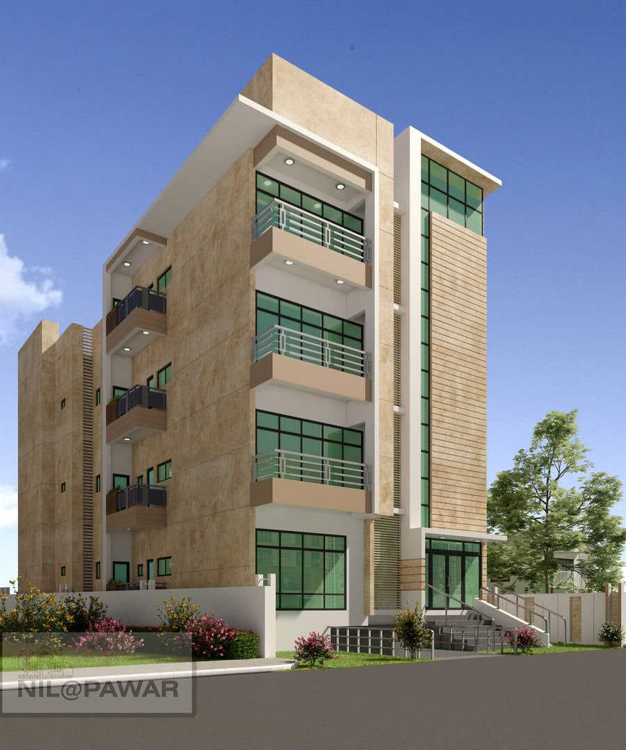 Kilpailutyö #70 kilpailussa Improve 3D Building Exterior - Paint, Windows, Balcony, Entrance, Garden