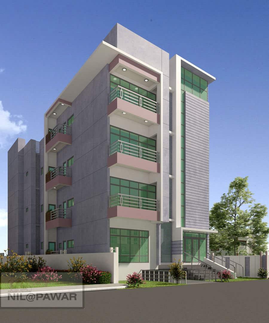 Kilpailutyö #77 kilpailussa Improve 3D Building Exterior - Paint, Windows, Balcony, Entrance, Garden