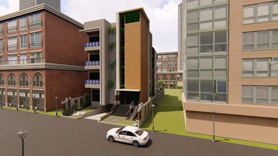 Kilpailutyö #96 kilpailussa Improve 3D Building Exterior - Paint, Windows, Balcony, Entrance, Garden