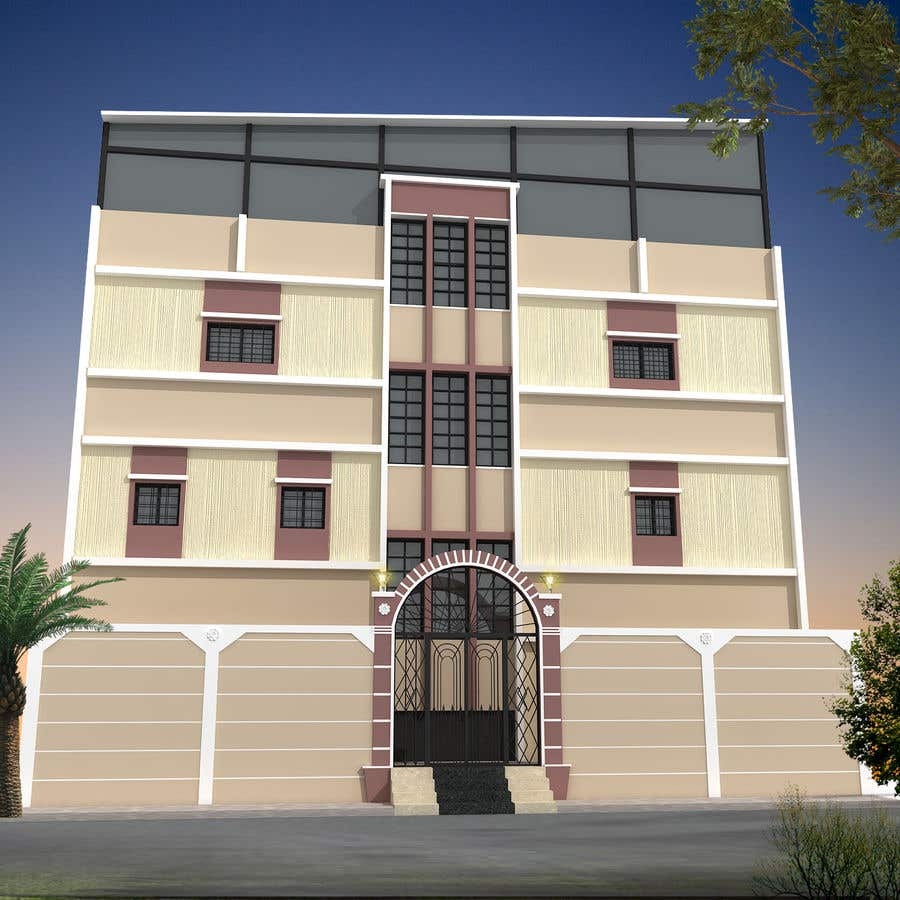 Proposition n°7 du concours 3D modeling/rendering of building facade by using 3ds Max to create new color design scheme