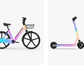 Nro 9 kilpailuun Edit pictures to make bikes and scooters a holographic mirror color & add my logo to the scooters käyttäjältä Romanchisty