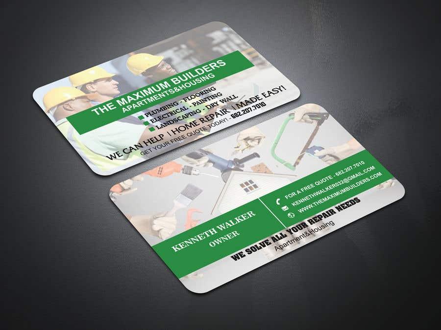 Kilpailutyö #22 kilpailussa design double sided business cards - construction