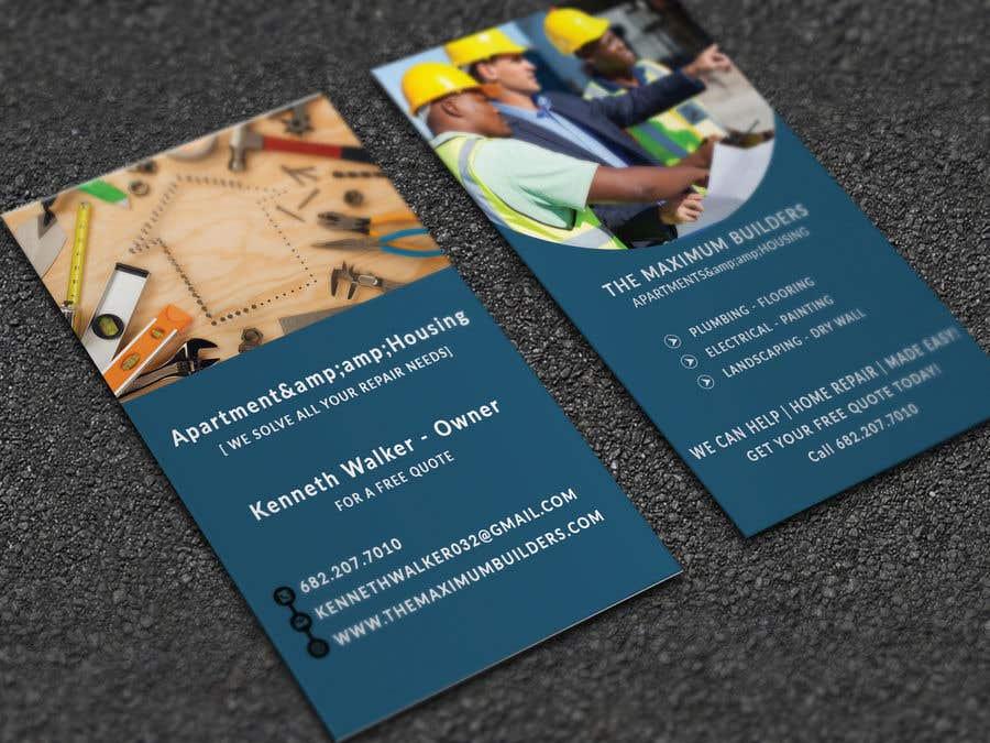 Kilpailutyö #31 kilpailussa design double sided business cards - construction