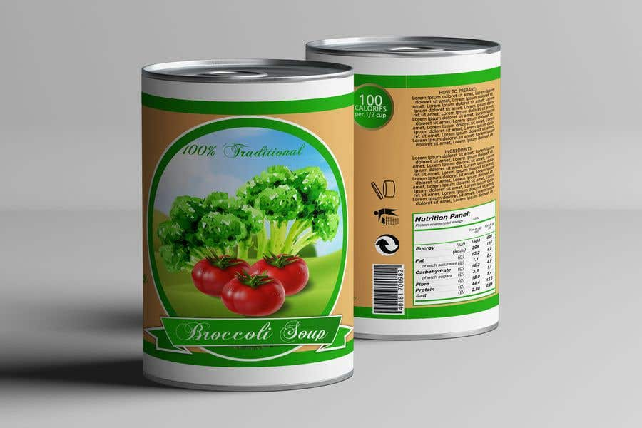 "Intrarea #22 pentru concursul ""I need a logo for a 2D artist. It must be a soup can with a ""Broccoli Soup"" title."""