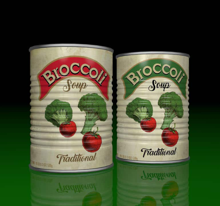 "Intrarea #13 pentru concursul ""I need a logo for a 2D artist. It must be a soup can with a ""Broccoli Soup"" title."""