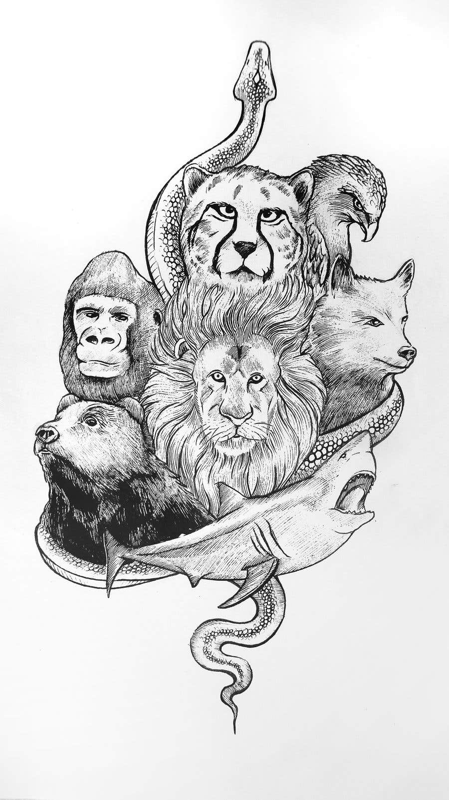 Proposition n°35 du concours I need an artist to draw tattoo sleeves of animals.
