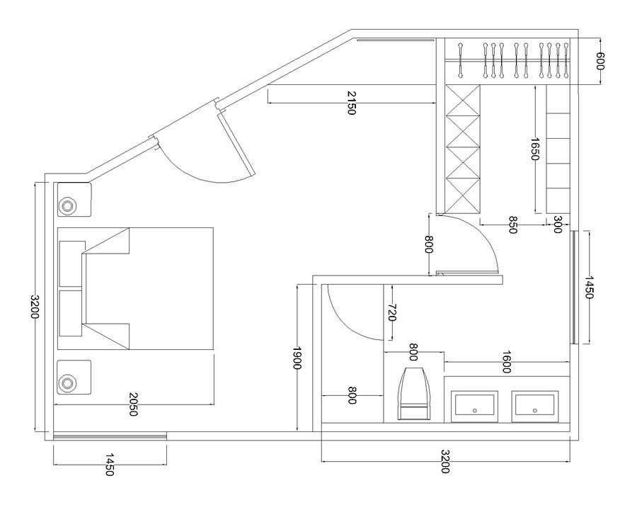 Konkurrenceindlæg #8 for Master bedroom reconfiguration to add ensuite